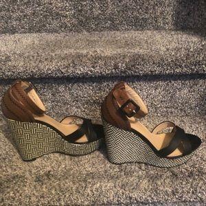 Adorable Black Wedge Multi Color Sandal